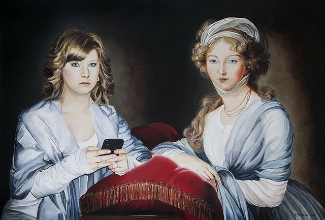 "Laara Cassells, ""Laara Cassells, Jessica Day and Empress Elisabeth Alexeievna (after Louise Vigée Lebrun),"" 2015"