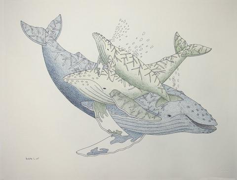 "Qavavau Manumie, ""Untitled (Whales),"" Cape Dorset, 2006/2007"
