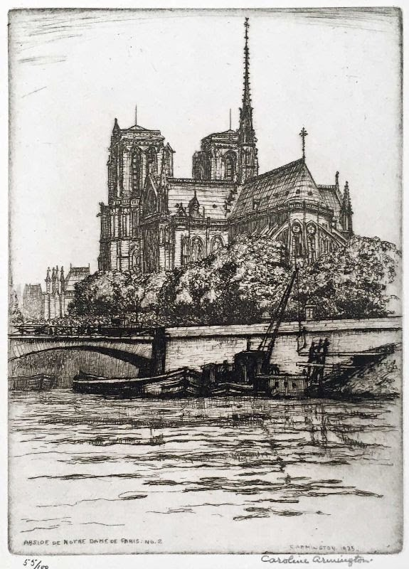 "Caroline Armington (1875 - 1939), ""Abside de Notre Dame de Paris No. 2,"" 1925"