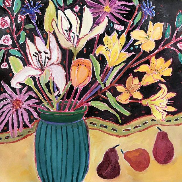 """Lynn Malin, """"Red Pears Still,"""" 2018"""