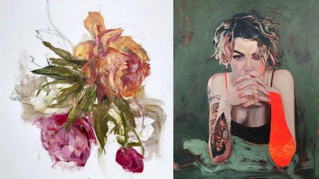 """Madeleine Lamont, Effloresce 4 (detail), oil on mylar, 36"""" x 24"""""""