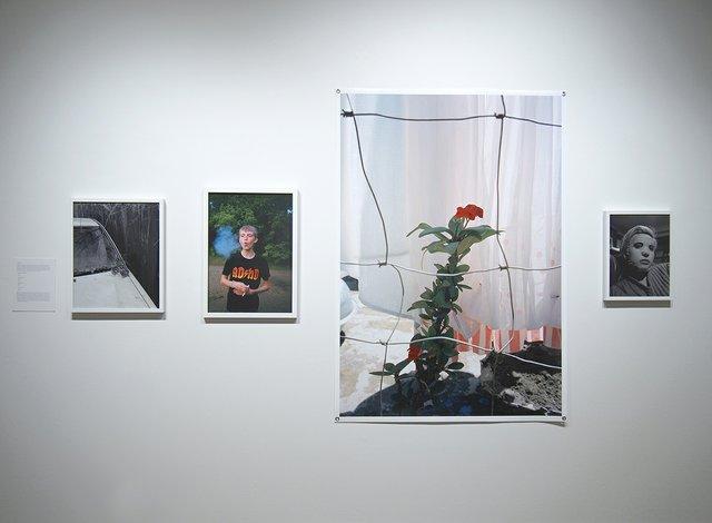 "Graham Wiebe, (left to right): ""A Car, A Home,"" 2019, C-print; ""Preteen Smoker (ADHD),"" 2015, C-print;""Crown of Thorns,"" 2018, C-print;""Chantel's Mask,"" 2019"