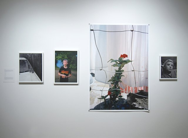 "Graham Wiebe, (left to right): ""A Car, A Home,"" 2019, C-print; ""Preteen Smoker (ADHD),"" 2015, C-print; ""Crown of Thorns,"" 2018, C-print; ""Chantel's Mask,"" 2019"