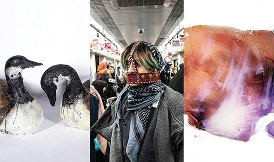 "Left to right: Gayle Buzzi, Naghmeh Jafari Firouzabadi, Breanne Siwicki, ""U of Manitoba 2019 MFA Thesis,"" 2019"