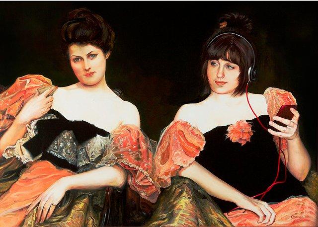 "Laara Cassells, ""Marina and a Portrait of a Lady (after Julius Leblanc Stewart),"" 2013"