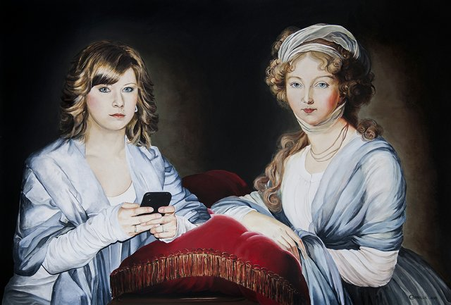 "Laara Cassells, ""Jessica Day and Empress Elisabeth Alexeievna (after Elisabeth Louise Vigée Lebrun),"" 2015"