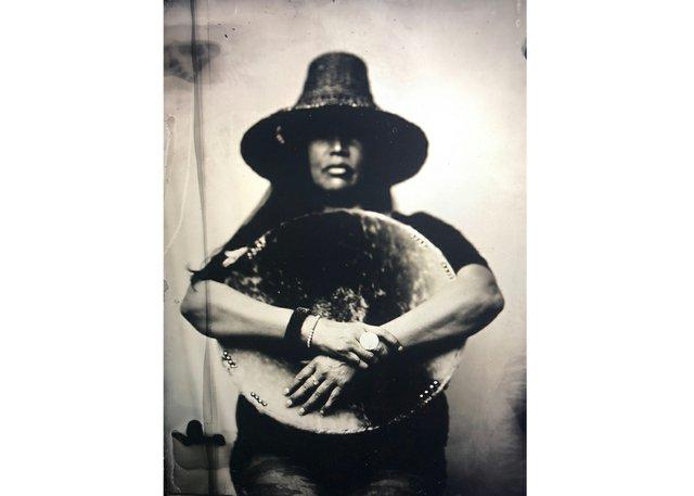 """Kali Spitzer, """"Portrait of Musqueam Waterkeeper (Audrey Siegl),"""" scanned tintype, 30"""" x 24"""""""