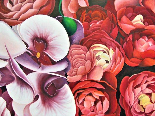 "Hilda Valdes, ""Flowers in Red,"" 2019"
