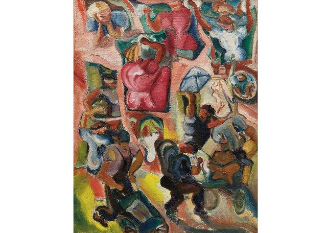 "Pegi Nicol MacLeod, ""Building, Street Scene, New York,"" circa 1940"