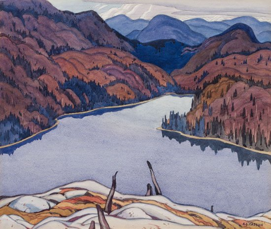"""Alfred Joseph Casson, """"The Lake in the Hills, Lake Superior,"""" 1929"""