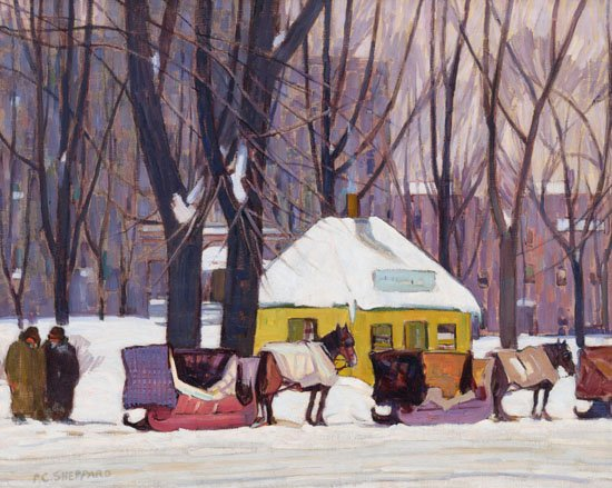 """Peter Clapham Sheppard, """"Cabstand, Montreal,"""" 1927"""