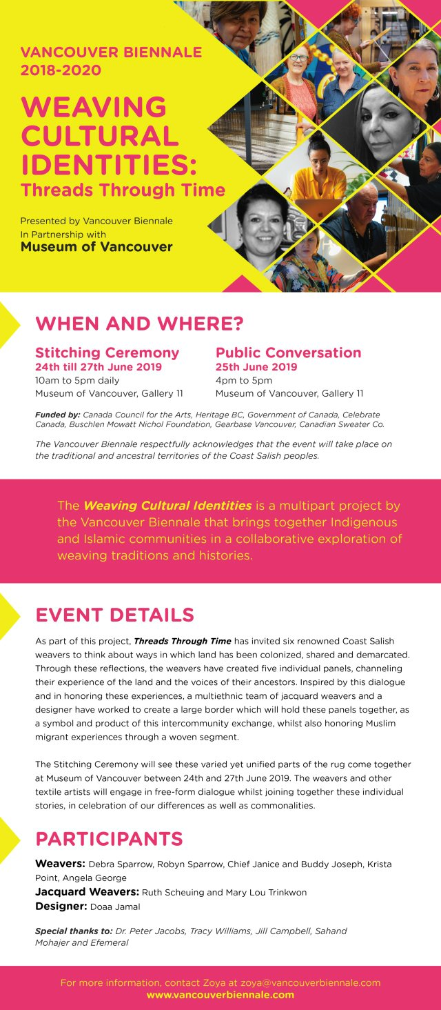Vancouver Biennale Public Ceremony: Weaving Cultural Identities, Threads Through Time, 2019