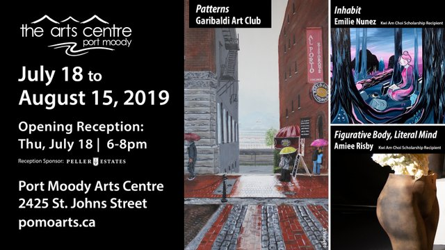 """Port Moody Arts Centre, """"Art by Emilie Nunez, Aimee Risby, and J. Verselft,"""" 2019"""