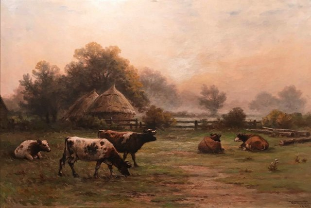 "Frederick A. Verner  ARCA OSA, ""Cattle in the Mist, Ontario Farm,"" 1902"