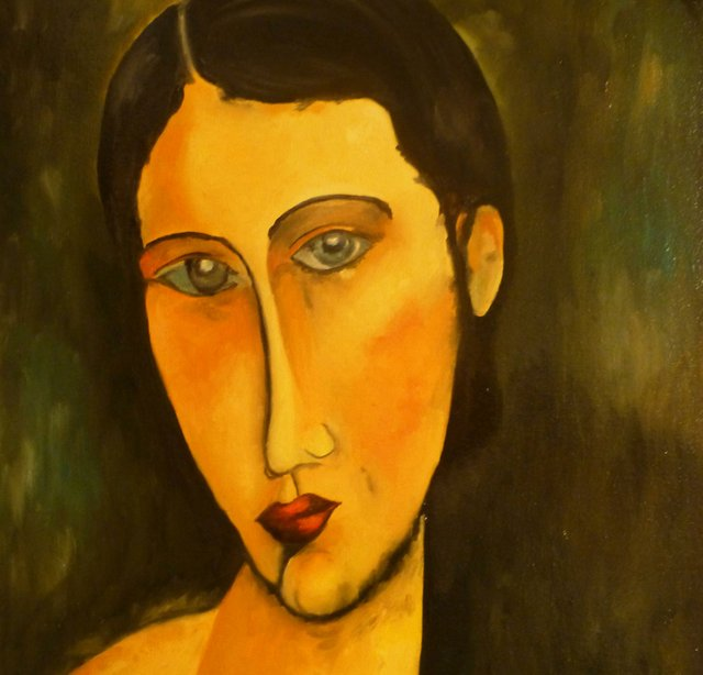 "Jan Brancewicz, ""Reproduction of Amedeo Modigliani - Young Girl with Blue Eyes,"" 2018"