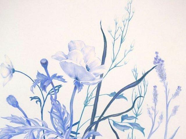 "Zachari Logan, ""Ditch Flowers (Blue) detail,"" 2019"