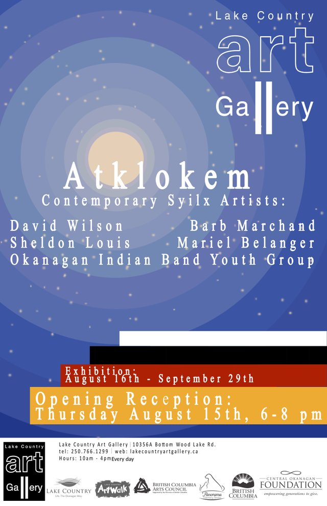 "Lake Country Art Gallery, ""Atklokem: Contemporary Syilx Artists,"" 2019"