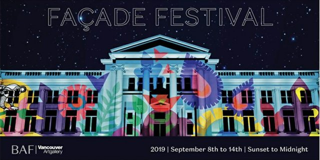 Rendering by Go2 Productions of a monumental projection to be presented by Sandeep Johal on the Georgia Street façade of the Vancouver Art Gallery in September as part of Façade Festival 2019.