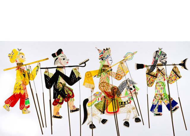 Chinese shadow puppets made by the Lu Family (MOA Collection 3338/8-12; photo by Alina Ilyasova, courtesy of Museum of Anthropology at UBC)