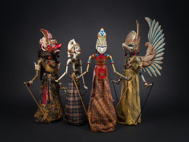 Javanese wayang golek (rod puppets) by unknown makers (MOA Collection 2872/22, 2872/21, 2872/35, 2872/19; photo by Alina Ilyasova, courtesy of Museum of Anthropology at UBC)