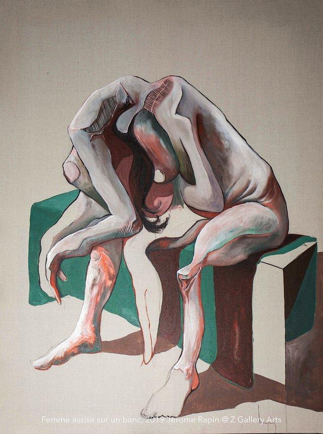 """Jérôme Rapin, """"Femme assise sur un banc,"""" 2019"""