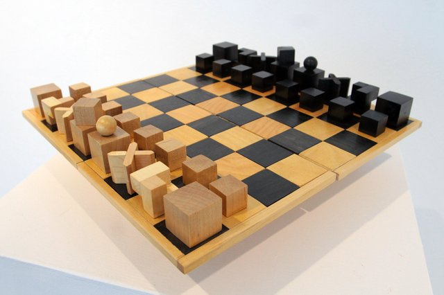 "This contemporary replica of Josef Hartwig's ""The Bauhaus Chess Set"" of 1924 was manufactured by Naef under the official licence. (collection of Maltby and Prins Architects, Edmonton; photo by Fish Griwkowsky)"