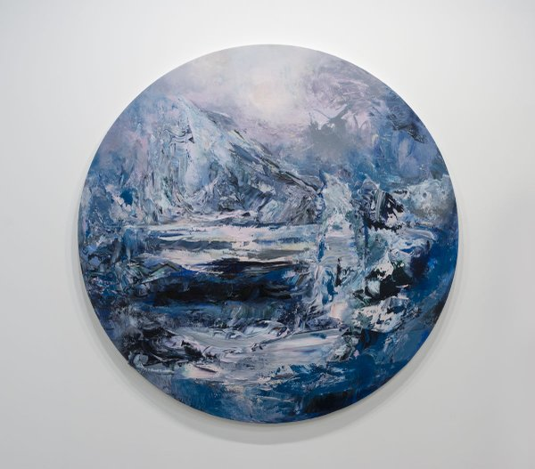"Michael Smith, ""Magnetic North,"" 2019, acrylic on canvas, 82"" diameter"