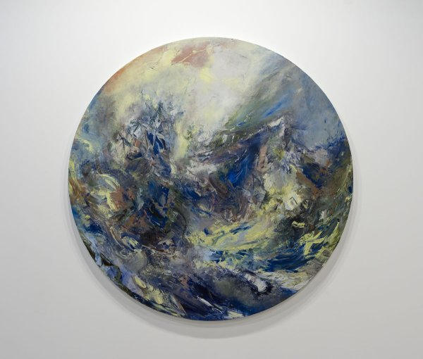 "Michael Smith, ""Rescue,"" 2019, acrylic on canvas, 82"" diameter"