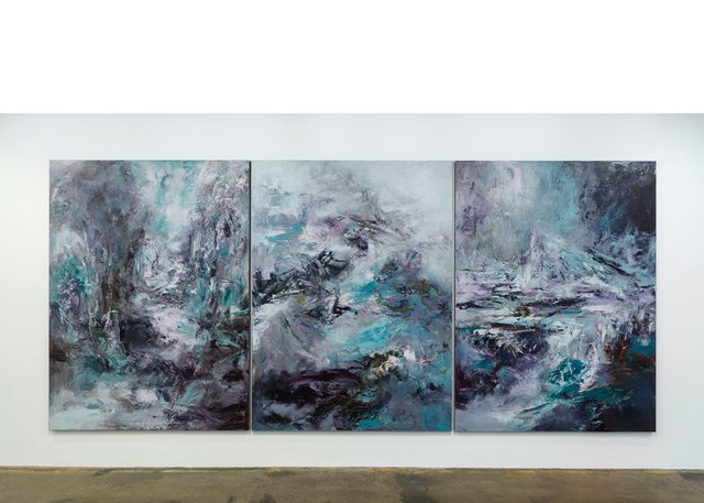 "Michael Smith, ""Le Passage,"" 2019, acrylic on canvas, triptych – 108"" x 80"" each panel"