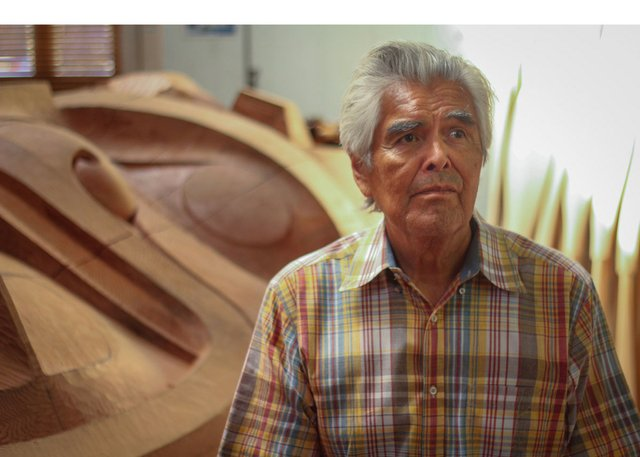 "Robert Davidson in his studio in the documentary film ""Haida Modern."" (photo by Kevin Eastwood)"