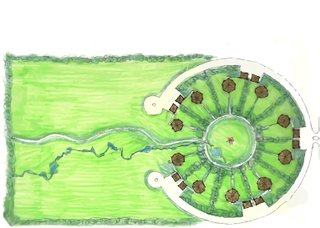 "Douglas Cardinal Architect Inc., ""Kamloops Indian Band (Tk'emlúps te Secwe̓pemc) Land Use Plan – Cluster of Ten Homes,"" 2005, drawing (courtesy of Douglas Cardinal Architect Inc.)"