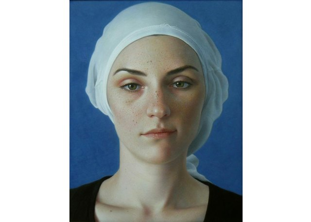 "Leslie Watts, ""Emily in Two T-Shirts,"" no date, egg tempera on panel, 17"" x 14"""