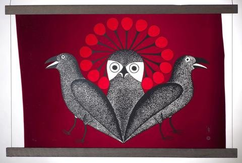 "Kenojuak Ashevak, ""Owl and Raven,"" Cape Dorset, 2010"