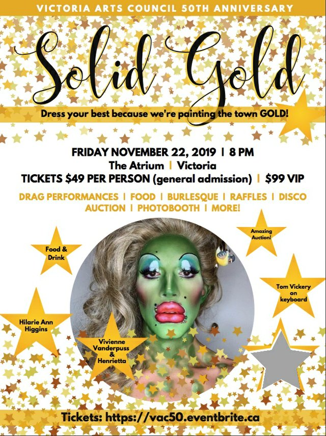 "Victoria Arts Council, ""50th Anniversary SOLID GOLD GLAM,"" 2019"
