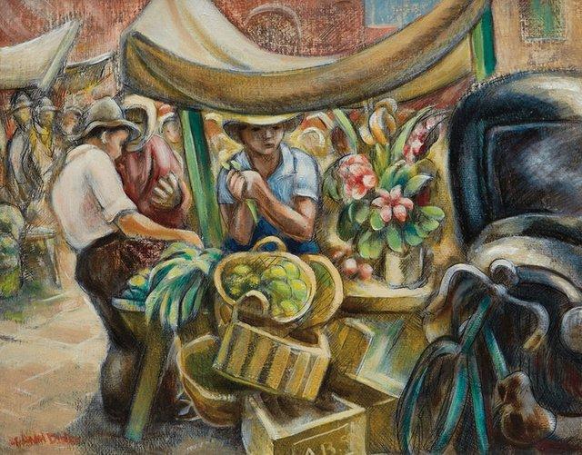 "André Biéler, ""The Market Stall,"" 1946, oil on board, 16.5"" x 20"" ($29,500 - Cowley Abbott)"