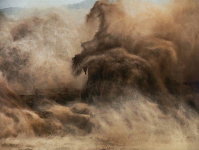 "Edward Burtynsky, ""Xiaolangdi Dam, Yellow River, Henan Province, China,"" 2011, chromogenic print, 40"" x 64"" ($28,800 - Waddington's)"