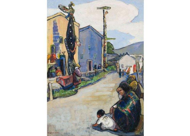 "Emily Carr, ""Street, Alert Bay,"" 1912, oil on canvas, 32"" x 23"" ($2,401,250 - Heffel)"