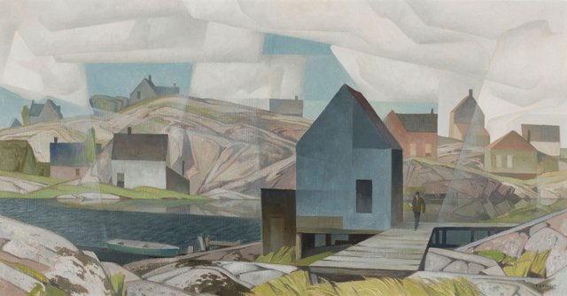 """A.J. Casson, """"Morning on the Inlet,"""" circa 1959, oil on board, 24"""" x 45"""" ($301,250 - Heffel)"""
