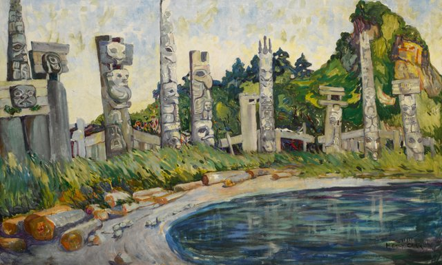 """Emily Carr, """"Skedans,"""" 1912, 35"""" x 58.5"""" (sold after auction, reportedly for US$2 million - Sotheby's)"""