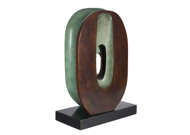 """Barbara Hepworth, """"Maquette for Dual Form,"""" 1966, bronze sculpture with brown and green patina 7/9, 10""""x 14.5"""" x 7"""" ($601,250 - Heffel)"""