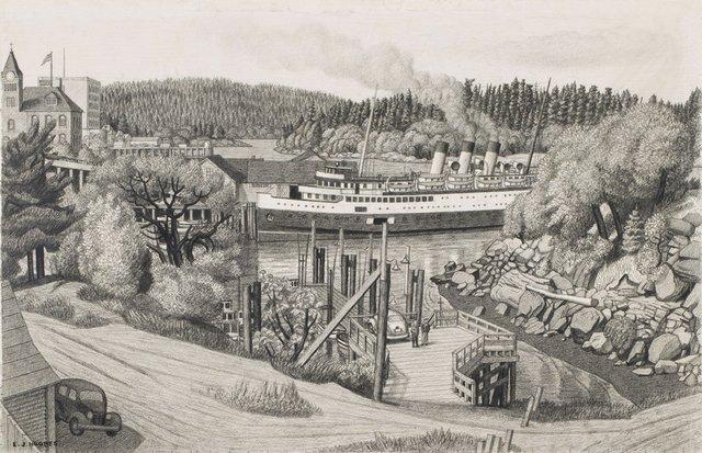 "E.J. Hughes, ""Vancouver Boat at the Old Wharf, Nanaimo, BC,"" 1958, graphite on paper, 14"" x 22"" ($169,250 - Heffel)"