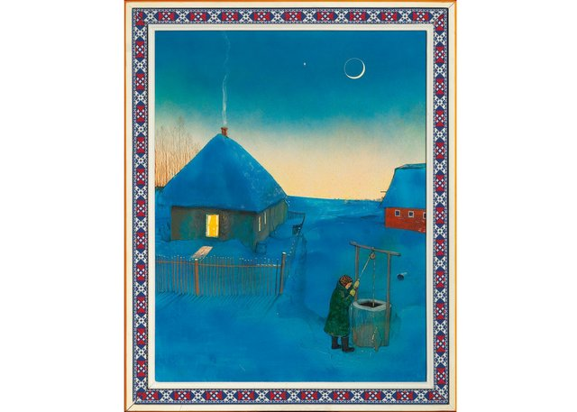 "William Kurelek, ""Pioneer Homestead on a Winter's Evening,"" 1971, mixed media on board, 24"" x 19"" ($82,600 - Cowley Abbott)"