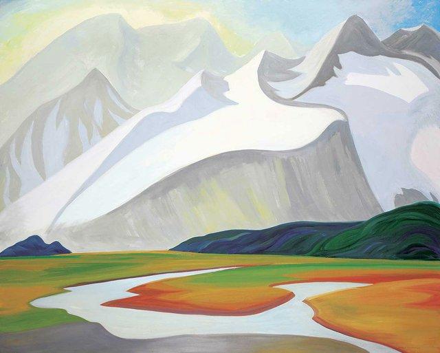 "Doris McCarthy, ""Untitled - Grand Alpine Vista,"" 2000, oil on canvas, 48"" x 60"" ($28,080 - Levis)"