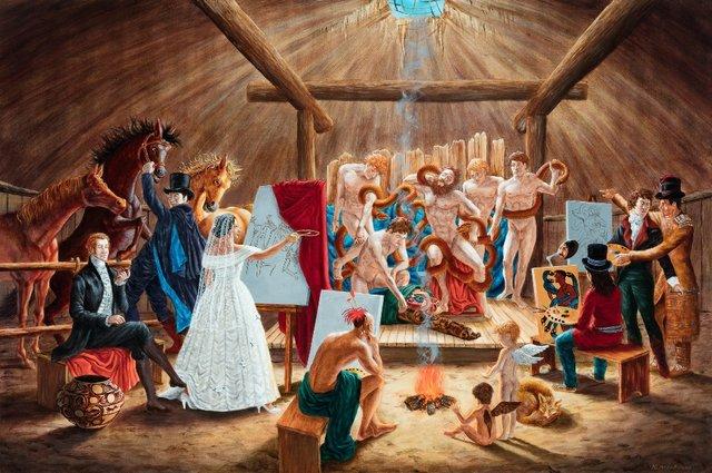 "Kent Monkman, ""Study for the Academy,"" 2008, acrylic on canvas, 24"" x 36"" ($108,000 - Waddington's)"
