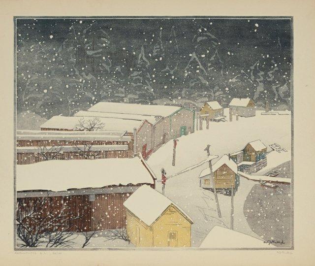 "Walter J. Phillips, ""Karlukwees BC,"" 1929, woodcut, printed in colours, 99/100, 10"" x 12"" ($66,000 - Waddington's)"