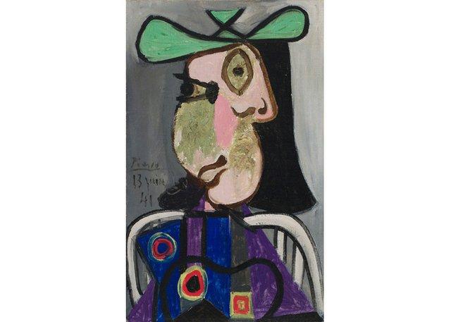 """Pablo Picasso, """" Femme au chapeau,"""" 1941, oil on canvas, 24"""" x 15"""" ($9,163,750 - Heffel)"""