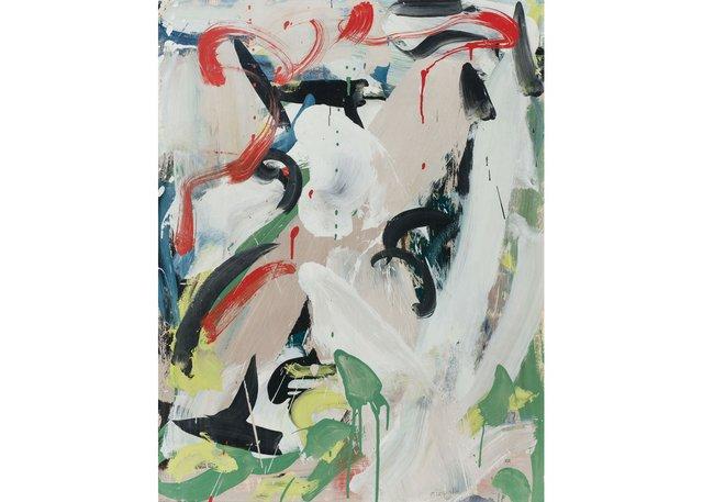 "Jean Paul Riopelle, ""Sans titre,"" 1960, oil on paper on canvas, 26"" x 20"" (no sale - Heffel)"
