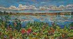 """Lush Wild Flowers By Lake"""