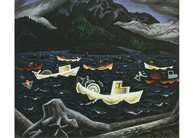 "E.J. Hughes, ""Fishboats, Rivers Inlet,"" 1946"