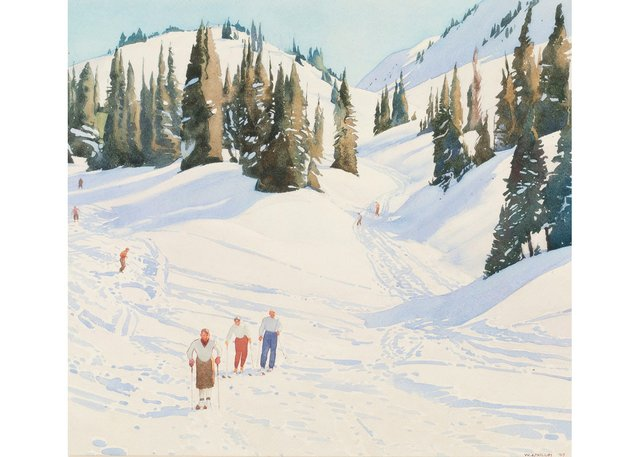 "Walter J. Phillips, ""Skiers at Sunshine,"" 1947"